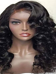 cheap -Human Hair Lace Front Wig Deep Wave 130% Density 100% Hand Tied African American Wig Natural Hairline Short Medium Long Women's Human
