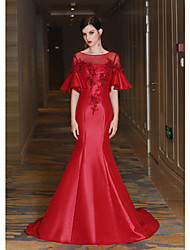 cheap -Mermaid / Trumpet Illusion Neckline Court Train Satin Tulle Mikado Formal Evening Dress with Beading Crystal Detailing Flower(s) Lace