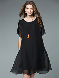 cheap -Women's Going out Casual Loose Chiffon Dress,Solid Round Neck Asymmetrical Short Sleeves Silk Summer High Rise Inelastic Thin