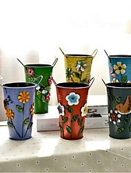 6pcs/group garden fresh iron art three-dimensional flowers cask/wedding vases/home decoration