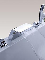 Moderne Style moderne Diffusion large Jet pluie Douchette inclue with  Soupape en laiton Trois poignées cinq trous for  Chrome , Robinet