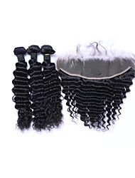cheap -3Bundles 300g Brazilian Remy Human Hair #1B Deep Wave Human Hair Wefts with 1Pcs Free Part 4x13 Lace Frontal Closures with Baby Hair Extensions/Weaves