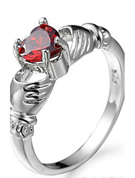 cheap -Ring Women's Euramerican Luxury Classic Heart Red Zircon Ring Daily Chrismas Movie Thank You Gift Jewelry