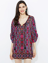 abordables -Femme Chic de Rue Gaine Robe Arc-en-ciel Mi-long