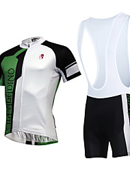 cheap -KEIYUEM Cycling Jersey with Bib Shorts Unisex Short Sleeves Bike Clothing Suits Quick Dry Dust Proof Wearable Breathable Compression Back