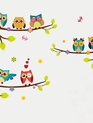 cheap -Wall Stickers Wall Decas Style Cartoon Owl Branch PVC Wall Stickers