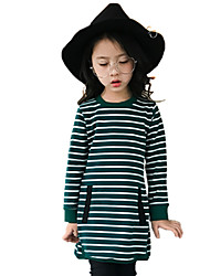 Girls' Stripe Tee,Cotton Fall All Seasons Long Sleeve Floral Green Black