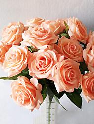 High-grade Moisturizing Rose Single Hand Realistic Feel Rose Home Decoration Fake Flower Simulation Flower Silk Rose 5 Branch/Set