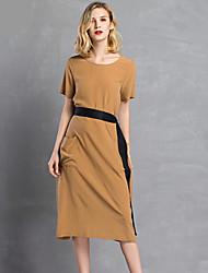 Swing Vestito Da donna-Casual Tinta unita Collage Rotonda Medio Manica corta Seta Primavera A vita medio-alta Media elasticitàMedio
