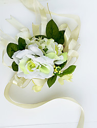 Yuxiying Wedding Wrist Corsages  White Green Small Rose Wedding Accessories