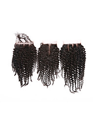 cheap -4x4 Closure Classic / Kinky Curly Free Part / Middle Part / 3 Part Swiss Lace Human Hair Daily