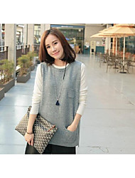 Women's Casual/Daily Regular Vest,Solid Print Round Neck Sleeveless Wool Others Fall Winter Medium Micro-elastic