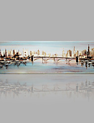 IARTS Modern Abstract Landscape Painting The Water City Wall Art For Home Decor Stretchered Ready To Hang