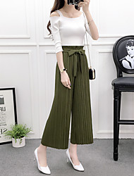 cheap -Women's Vintage Short T-shirt - Solid Sexy Textured, Chiffon Pant