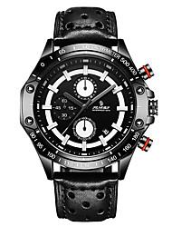 baratos -Homens Relógio Esportivo Relógio de Moda Relógio Casual Chinês Quartzo Calendário Couro Legitimo Banda Casual Legal Elegant Preta Marrom