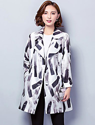 Women's Casual/Daily Casual Fall Coat,Print Notch Lapel Long Sleeve Regular Polyester