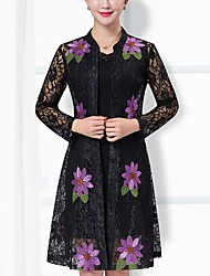 cheap -Women's Daily Plus Size Casual Loose Lace Dress,Solid Embroidered Stand Knee-length Long Sleeves Polyester Fall Mid Rise Micro-elastic