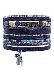 abordables -Femme Cuir Bohème Bracelets en cuir - Bohème Naturel Turc Carré Marron Rouge Bleu Bracelet Pour Mariage Anniversaire Soirée