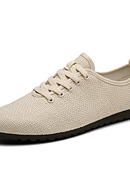 Men's Sneakers Comfort Spring Summer Fall Winter Linen Casual Lace-up Flat Heel White Black Beige Flat