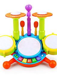 Недорогие -Барабанная установка Игрушечные инструменты Обучающая игрушка Игрушки Перезаряжаемый Ударная установка Пластик Куски Для детей Подарок