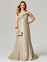 cheap -A-Line Cowl Neck Sweep / Brush Train Lycra Formal Evening Dress with Pleats by TS Couture®