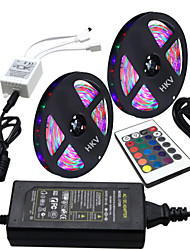 HKV® 10M(2*5M) Waterproof 3528 300LED RGB Strip Light 24Key IR Remote Controller 5A Power Supply AC 100-240V