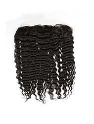 cheap -Factory Direct Sales 100% Unprocessed Natural Black Brazilian Human Hair Deep Wave Free Part 13*4 Ear to Ear Lace Frontal Closures with Baby Hair