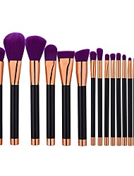 15pcs Powder Brush Foundation Brush Nylon Cute Full Coverage Aluminum Plastic Face
