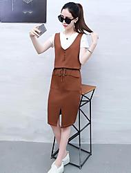 Manches Ajustées Robes Costumes Femme,Couleur Pleine Quotidien Décontracté Décontracté Eté Manches Courtes Col Arrondi Micro-élastique