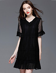 cheap -Women's Going out Plus Size Street chic Loose Lace Dress,Solid Patchwork V Neck Mini Short Sleeves Polyester Summer Mid Rise Micro-elastic