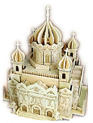 cheap -3D Puzzles Jigsaw Puzzle Wood Model Toys Church Architecture 3D DIY Simulation Wooden Wood Not Specified Unisex Pieces