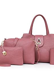 Donna Sacchetti Per tutte le stagioni PU (Poliuretano) sacchetto regola Set di borsa da 4 pezzi per Casual Blu Nero Rosso Rosa Viola