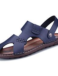 cheap -Men's Shoes PU Spring / Summer Comfort Sandals Blue / Dark Brown