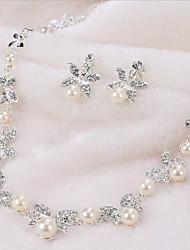 Femme Collier / Boucles d'oreilles Strass Perle imitée Imitation de perle Simple Style Fleur Imitation de perle Strass Placage Alliage