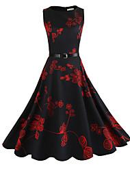 cheap -Women's Puff Sleeve Sheath Dress - Floral, Print