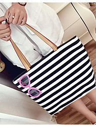 Women Bags All Seasons Canvas Shoulder Bag for Casual Outdoor Black-white