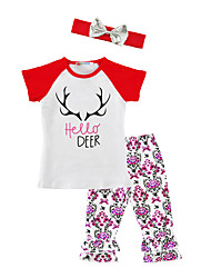 Girls' Animal Floral Print SetsCotton Blends Spring/Fall Summer Short Sleeve Clothing Set Hello Deer      T Shirt Pants with Headband 3pcs Kids Suits