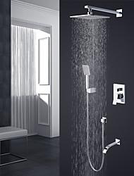 Moderne / Nutidig Vægmonteret Regnfald Vægmontering Keramik Ventil Enkelt håndtag fire huller Krom , Brusehaner