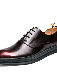 cheap -Men's Oxfords Clogs & Mules Spring Fall PU Wedding Outdoor Office & Career Casual Party & Evening Flat Heel  Red/Black