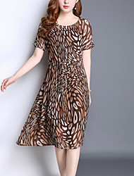Women's Plus Size Going out Street chic Loose Dress,Leopard Print Round Neck Midi Short Sleeve Silk Polyester Summer Mid Rise