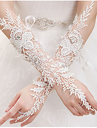 Elbow Length Fingerless Glove Lace Bridal Gloves All Seasons Rhinestone