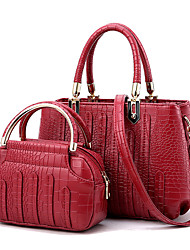 cheap -Women's Bags PU Bag Set Ruffles / Zipper Drak Red / Wine / Light Gray / Bag Sets