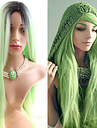 Light Green Color Trendy Silk Popular Daily Beauty Straight Synthetic Wigs with Dark Root Heat Resistant Natural Capless Wig High Quality