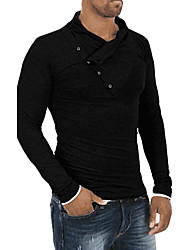 cheap -Men's Daily Active Spring Summer T-shirt,Solid Round Neck Long Sleeves Organic Cotton Medium