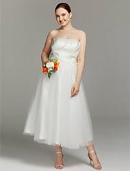 Linea-A Senza bretelline Lunghezza tè Raso Tulle Vestito da sposa con A incrocio Con ruche di LAN TING BRIDE®