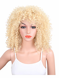 Kinky Curly Synthetic Wigs Natural Blonde Wig for Black Women Pelucas Medium Length Heat Resistant