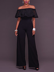Women's High Rise Work Going out Daily Jumpsuits Sexy Wide Leg Boat Neck Cotton/Polyester Falbala Summer Fall Black/Pink