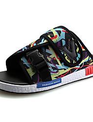 baratos -Homens sapatos Tule Verão Solados com Luzes Sandálias Combinação para Casual Preto Arco-íris Preto/Vermelho Black / azul