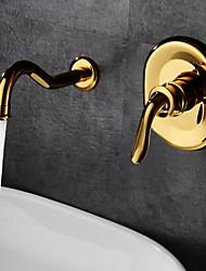 abordables -Antique Classique Montage mural Soupape céramique Mitigeur deux trous Ti-PVD, Robinet lavabo