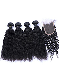 4Pcs 400g Unprocessed Brazilian Kinky Curly Remy Human Hair Wefts with 1Pcs Free Part 4x4 Lace Top Closures Natural Black Color Human Hair Extensions